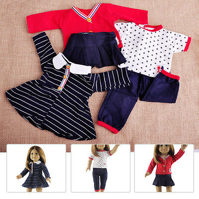 "Hot 3 Set Doll Clothes Casual Wear Dress Skirt Outfit For 18"" inch American Girl"
