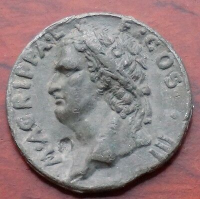 Roman M. Agrippa lead medal, 43mm. GVF. weight 51.2 gms