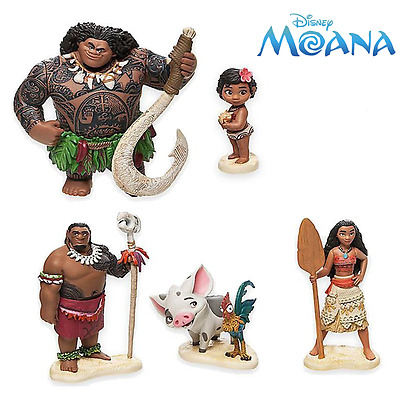 6x Disney Moana PVC Action Figures Cake Topper Decor Figurines Kid Play Set Toy
