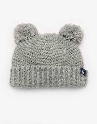 Joules Pom Kids Knit Pom Hat with Two Bobbles & Warm Cotton Lining in Grey Marl