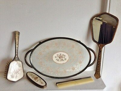 PRETTY VINTAGE c.1950s? BRASS DRESSING TABLE VANITY ITEMS MIRROR BRUSH COMB TRAY