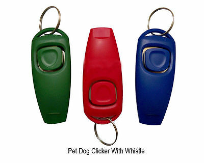 New Dog Clicker & Whistle Training Pet Trainer Click Puppy With Guide Obedience
