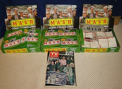 MASH Trading Cards Lot Full Box plus two sets TV Guide and a Box of wrappers!