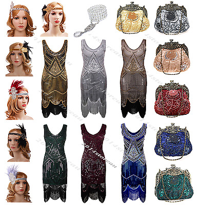 1920s Flapper Dress Gatsby 1930s Dress Deco Beaded Sequin Fringed Party Costume
