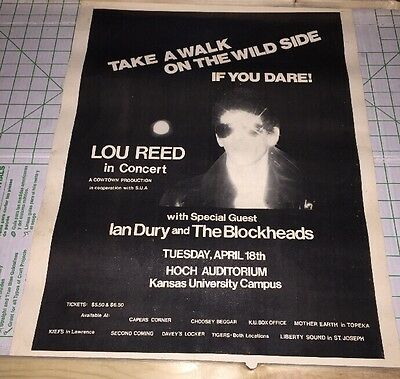 LOU REED CONCERT TOUR POSTER Early 70s Take A Walk On The Wild Side Original
