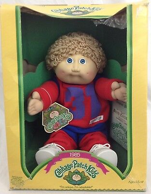 """Genuine VTG 1985 Cabbage Patch Kids Doll 16"""" Birth Certificate & Box Taiwan IC6"""