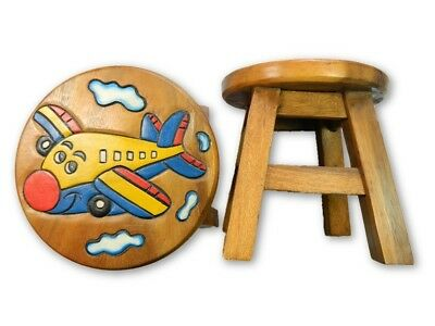 Childs Childrens Wooden Stool - Airplane, Aeroplane With Face Step Stool