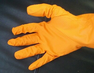 On Hand Grip Plus Gloves Orange Nitrile Gloves Size Large