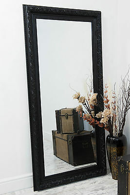 Large Black Antique Style Wall or Leaner Mirror 194cm x 92cm