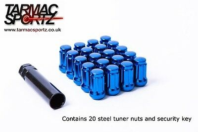 BLUE spline driven STEEL Wheel nuts 12x1.25 Fits SUBARU IMPREZA -  UK Stock