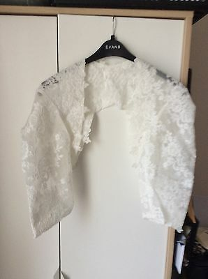 3/4 Sleeve Backless White/Ivory LACE Wedding Jacket/Bolero/Shrug Accessory