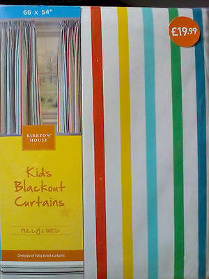 """New pair of fully lined Kids Blackout Curtains, multi stripe 66x54"""" (168x137 cm)"""