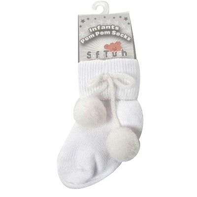 baby ankle sock with pom pom-white