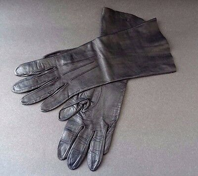 True Vintage Ladies Butter Soft Black Leather Unlined Evening Long Cuff Gloves