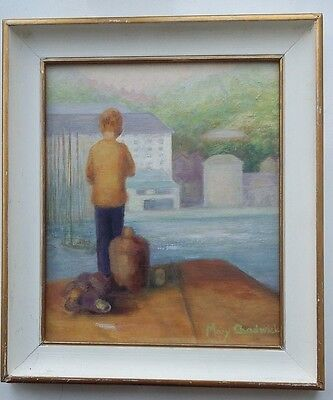 Mary Chadwick Signed Original Oil Painting on Board Boy Looking Across Harbour