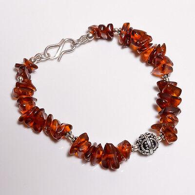 925 Sterling Solid Silver Bracelet Amber Handmade (AHDI)