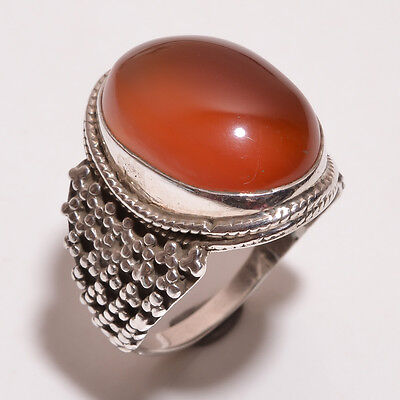 925 Sterling Solid Silver Stone Setted Ring Cornelian Handmade (BCFB)