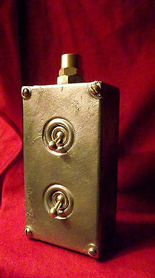 """Vintage Industrial Light Switch """"Walsall"""" 2 Two Gang Galvanized Cast Iron"""