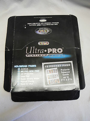 100 Ultra Pro Platinum 15 Pocket Page 1 1/2 X 2 1/2 Mini Tobacco Card Protectors