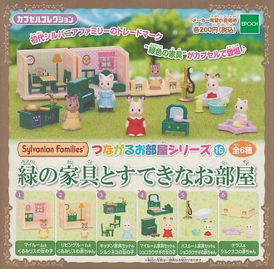 """Epoch Sylvanian Families capsule toy """"Green furniture and nice room"""" 6pc set NEW"""