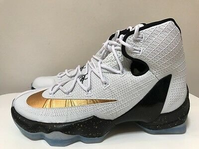 Nike LeBron XIII 13 Elite Basketball Shoes White Gold UK 7 EUR 41 831923 170