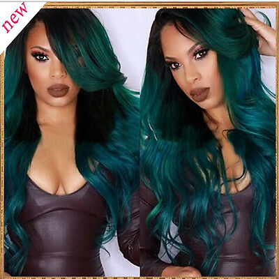 Fashion Women Green Long Curly Wig Lace Front Synthetic Party Cosplay Hair Wigs