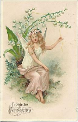 Fairy sits under Lily of the Valley & pulls bell
