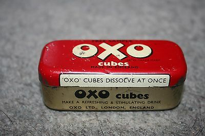 """A VERY rare early Vintage """"Free Sample"""" OXO Tin that would have held 3 Cubes."""