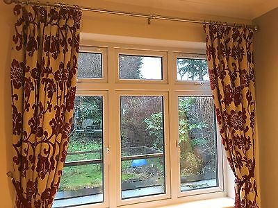 Pair Of Curtains - Soft Flock In Red