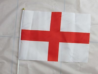 "12/25/50/100 X England / English 24"" Large Hand Flags - St Georges Day"