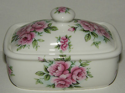 BN Shabby Chic Pink Floral Bone China Butter dish,  Rose Spray China Butter dish
