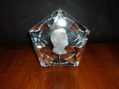 Vintage **president Jimmy Carter ***crystal Paperweight Inaugurated Jan, 20,1977