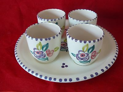 Vintage Hand-painted Poole Pottery Floral 4 Egg Cups & Stand