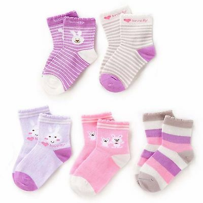 5 Pairs Anti-Slip Assorted Non Skid Kids Cozy Ankle Cotton Socks Baby Girls 0-1Y