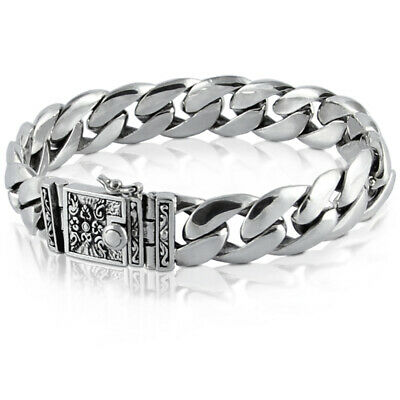 Men's Bracelet Solid Sterling Silver 925 Heavy Classic Link Chain Size 18 to 25