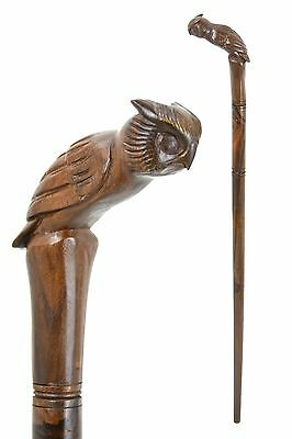 Owl walking stick / cane - Hand carved from East Indian Rosewood