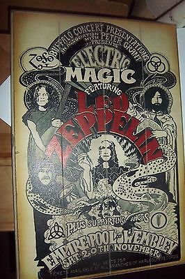 Led Zeppelin ELECTRIC MAGIC Wooden POSTER Picture. 19X13X2 - Beech Grove