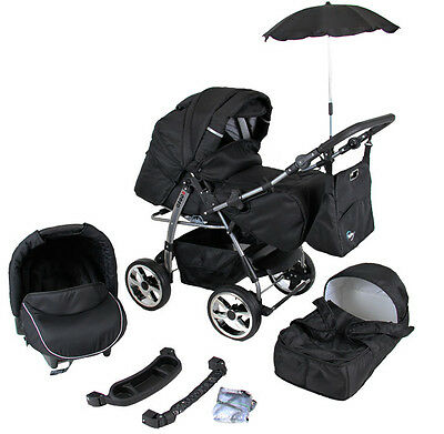 Kinderwagen Rodeo Schwarz, 3 in 1- Set Wanne Buggy Babyschale Autositz