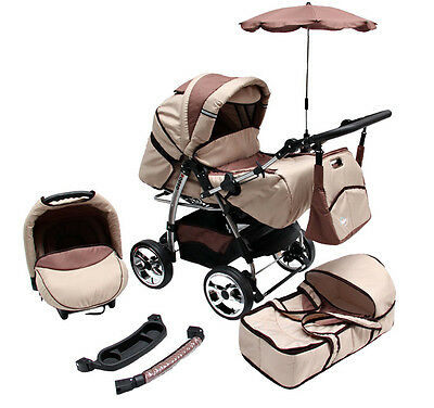 Kinderwagen Rodeo Beige-Braun, 3 in 1- Set Wanne Buggy Babyschale Autositz