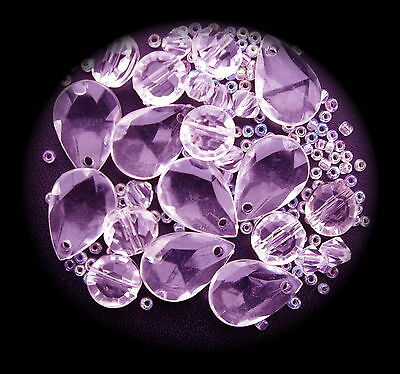 """""lilac"""" Teardrops And Mixed Acrylic Beads To Make Jewellery--"