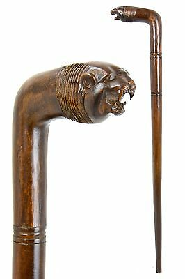 LION wooden walking stick / cane - Hand carved from hardwood - BOXED item
