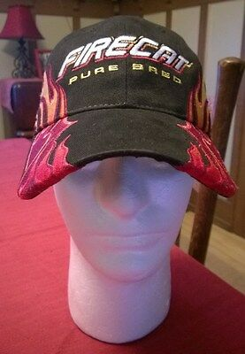 Arctic Cat Snowmobile FIRECAT Pure Bred Black Red Flames Hat Cap OSFA Sled