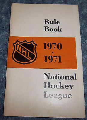 Official NHL Rule Book 1970-71 National Hockey League