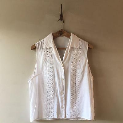 True Vintage 1950s White Cotton Embroidered Lace Blouse Shirt Top UK12 M