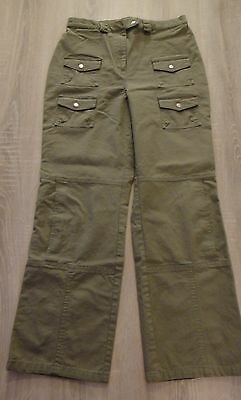 Olive/Army Green Cropped Cargo Pants Military Inspired High Waist Size 12