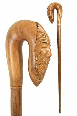 Green Man walking stick, Hand carved from Suar Wood
