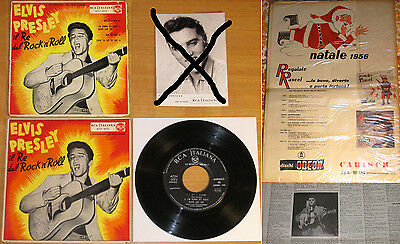 "Elvis ""King Of Rock'n'Roll"" two Italy 1956-57 EP's FLAME COVER w/ 1956 Mag"