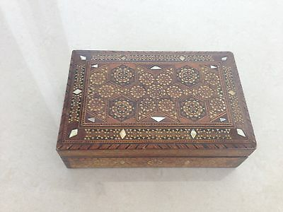 Antique Islamic Ottoman Syrian Wooden Box With Intricate Inlay