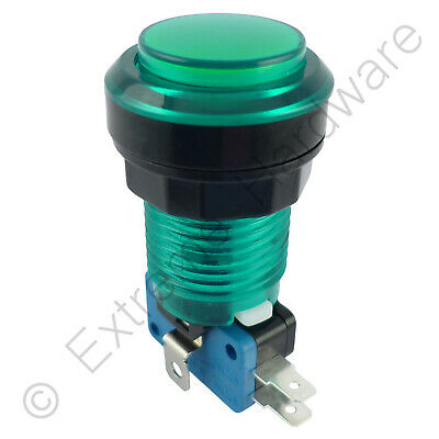 28mm Round 5v LED T10 Bulb Arcade Button & Microswitch (Green) - MAME, JAMMA