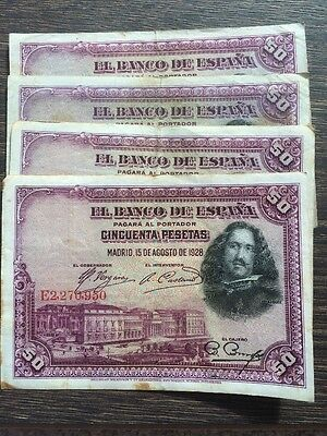 Set Of 4 Spanish 50 Pesetas Banknotes 1928